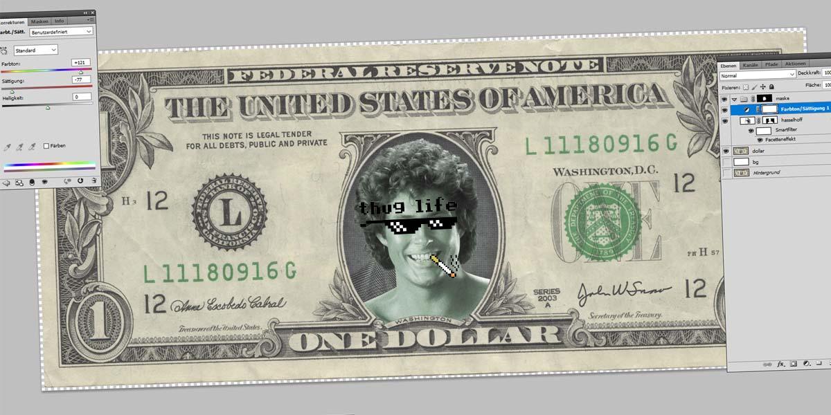 Hasselhoffin dollari - Photoshop-opas: Työkalut, rajaus, taikasauva ja maskit